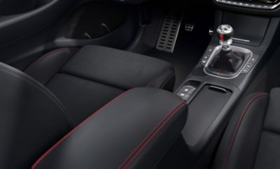 Highlighting the red stitching in the interior of the new Hyundai i30 N Line.