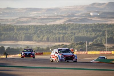 Hyundai TCR touring cars on a race track.