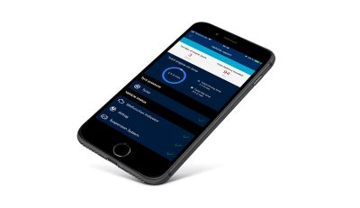 Smartphone with the Bluelink® app on its screen.