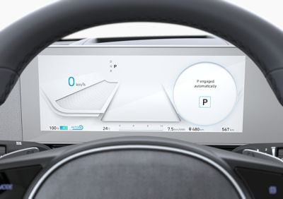 "The fully digital 12.25'"" cluster in the Hyundai IONIQ 5 electric midsize CUV."