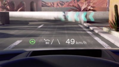 "The 44"" advanced head-up display inside the Hyundai IONIQ 5 electric midsize CUVs cockpit."