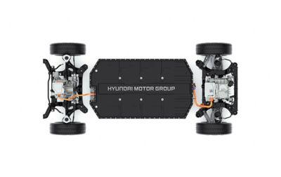 The low down located driving motor and battery in the Hyundai IONIQ 5 electric midsize CUV.