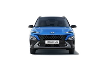 Front view of the new Hyundai Kona Hybrid with its robust SUV signature and unique style