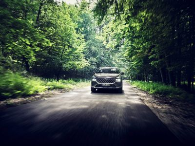 The new Hyundai SANTA FE Plug-in Hybrid 7 seat SUV driving on a forest road.