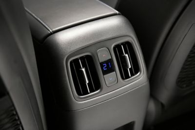 The rear temperature controls of the all-new Hyundai Tucson compact SUV.