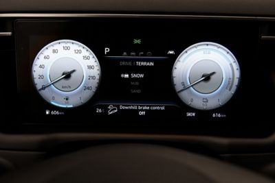 The digital cluster inside the all-new Hyundai Tucson Hybrid compact SUV.