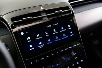 "The new 10.25"" touchscreen and full touchscreen controls in the all-new Hyundai Tucson Hybrid SUV"